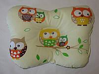 Подушка для новорожденных совы на бежевом
