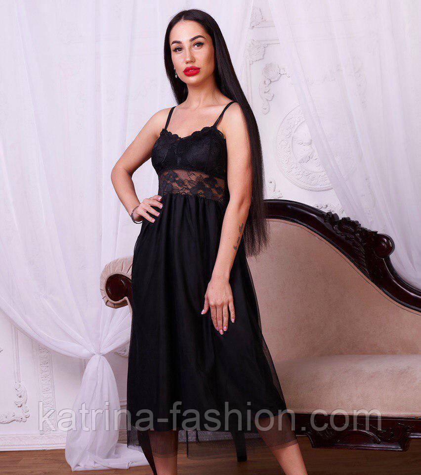 Женское платье с кружевом и фатином (2 цвета)