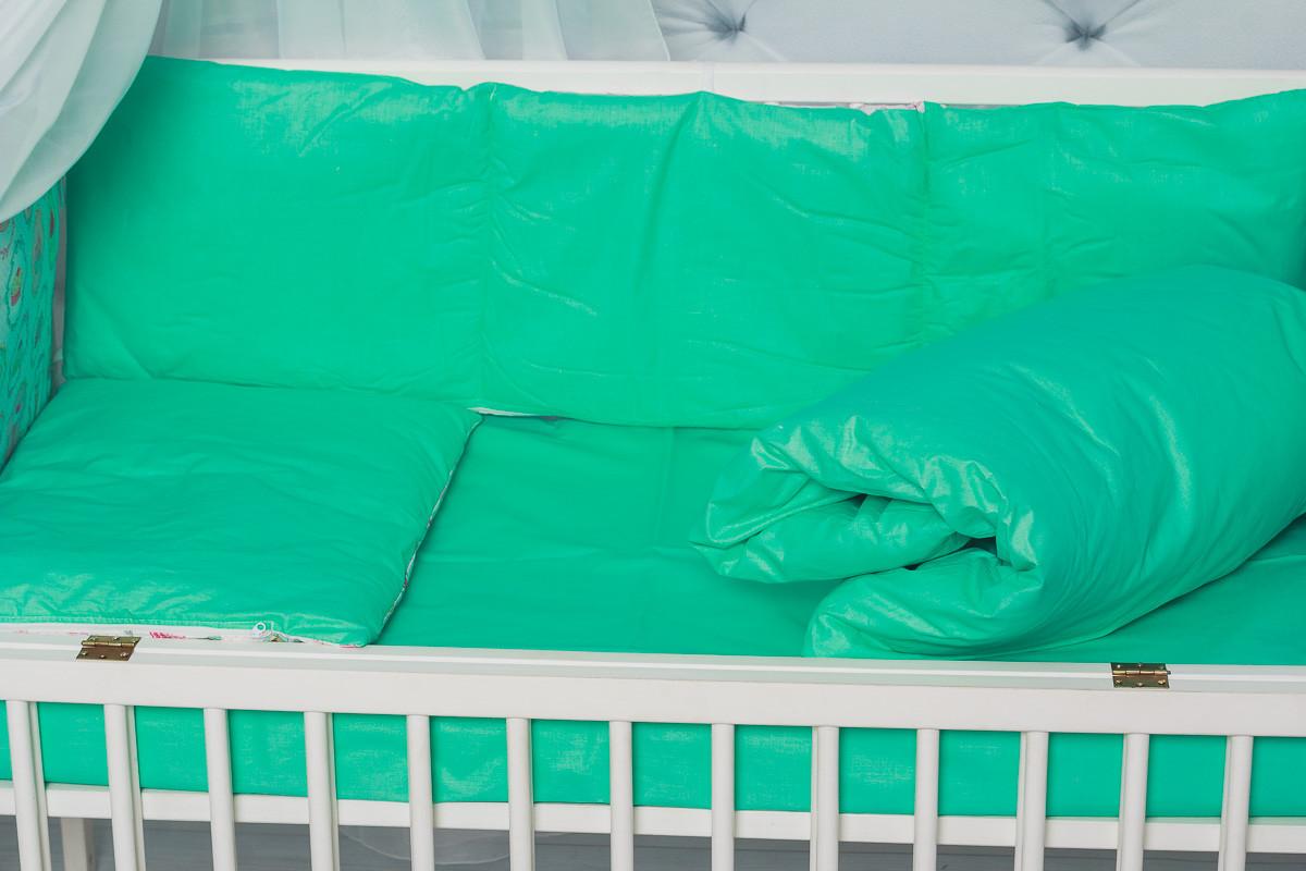 Сменное детское постельное белье в кроватку однотонное ярко-мятного цвета