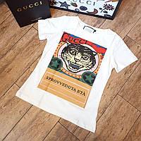 Футболка женская Gucci белая,тигр принт, фото 1