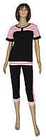 Cпортивный костюм женский летний 008 Нинэль, футболка и бриджи, р.р.44-46