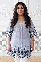 Блуза в народном стиле с синей вышивкой БЕАТА (56 -62)