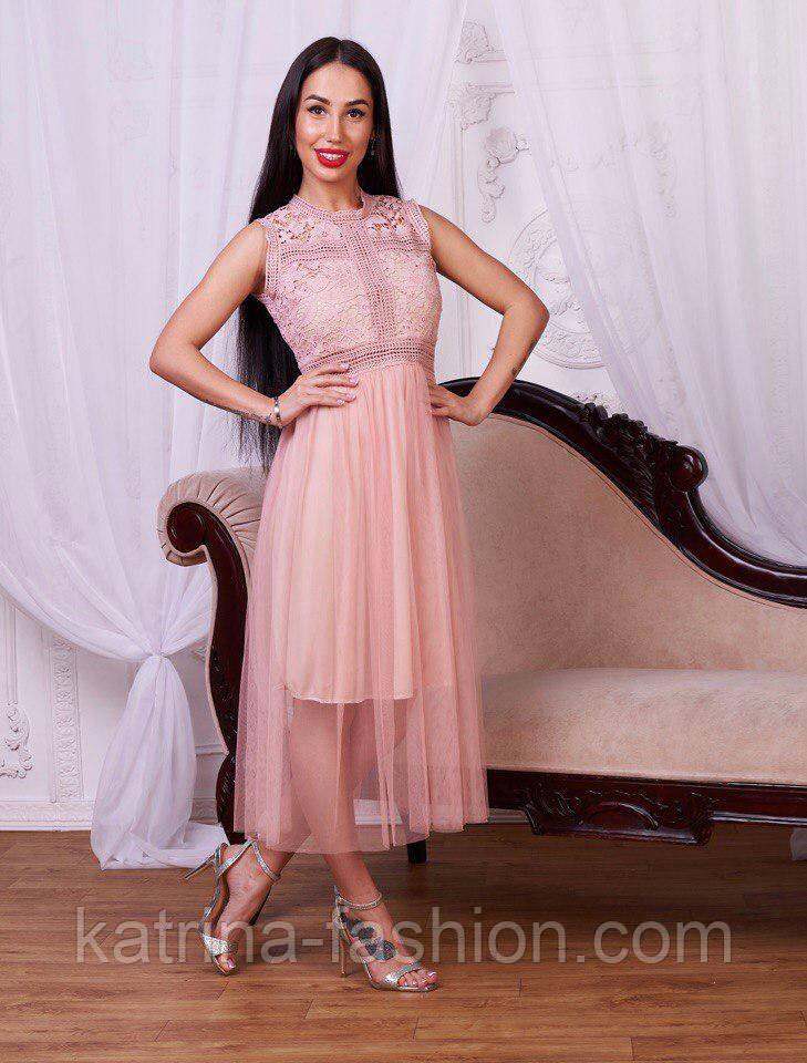 Женское красивое платье-миди с фатином и кружевом (2 цвета)