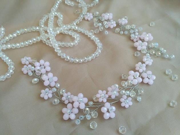 Ободок из бусин, украшения в прическу цветы из бусин, розовая веточка в прическу, фото 2