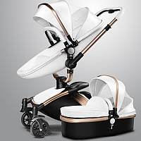 Детская коляска  Aulon 2в1 С поворотом на 360 Белая эко-кожа Прогулочная и люлька, фото 1