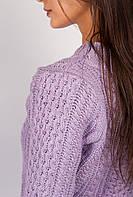 Платье женское вязаное с круглым вырезом 352K001 (Светло-сиреневый)