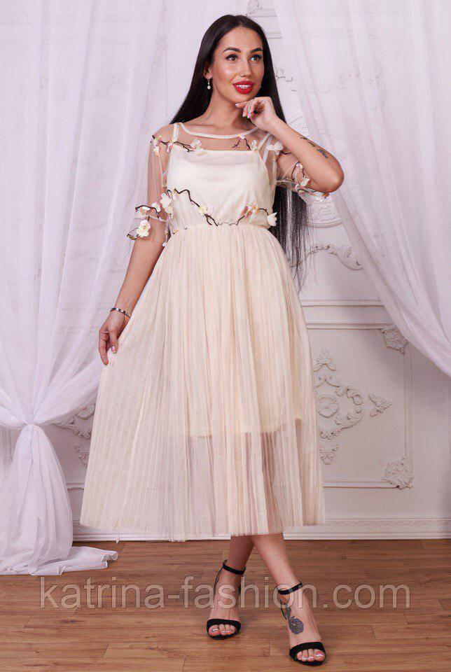 Женское красивое платье с фатином и цветочным принтом (2 цвета)