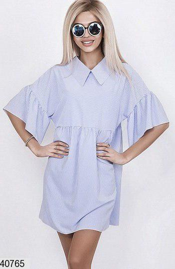 Летнее платье свободное короткое с воротником рукав до локтя синее