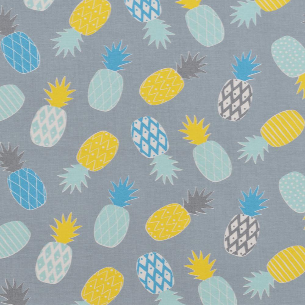 Хлопковая ткань Ананасики мятно-желтые