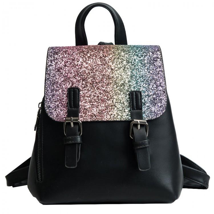 Рюкзак женский с пайетками Amelie Black