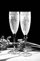 Набор свадебных бокалов для шампанского Bonita с лазерной гравировкой 190 мл х 2 шт (108)