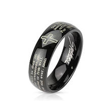 """Кольцо черное с молитвой """"Отче наш"""" нержавеющая сталь 316L Spikes (США), фото 1"""
