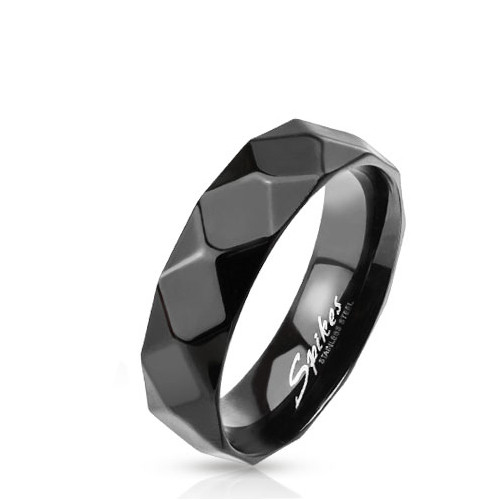 Кольцо граненое черное Spikes