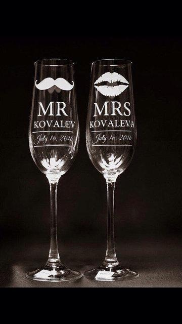 Набор свадебных бокалов для шампанского Bonita с лазерной гравировкой имен и даты 190 мл х 2 шт (122)
