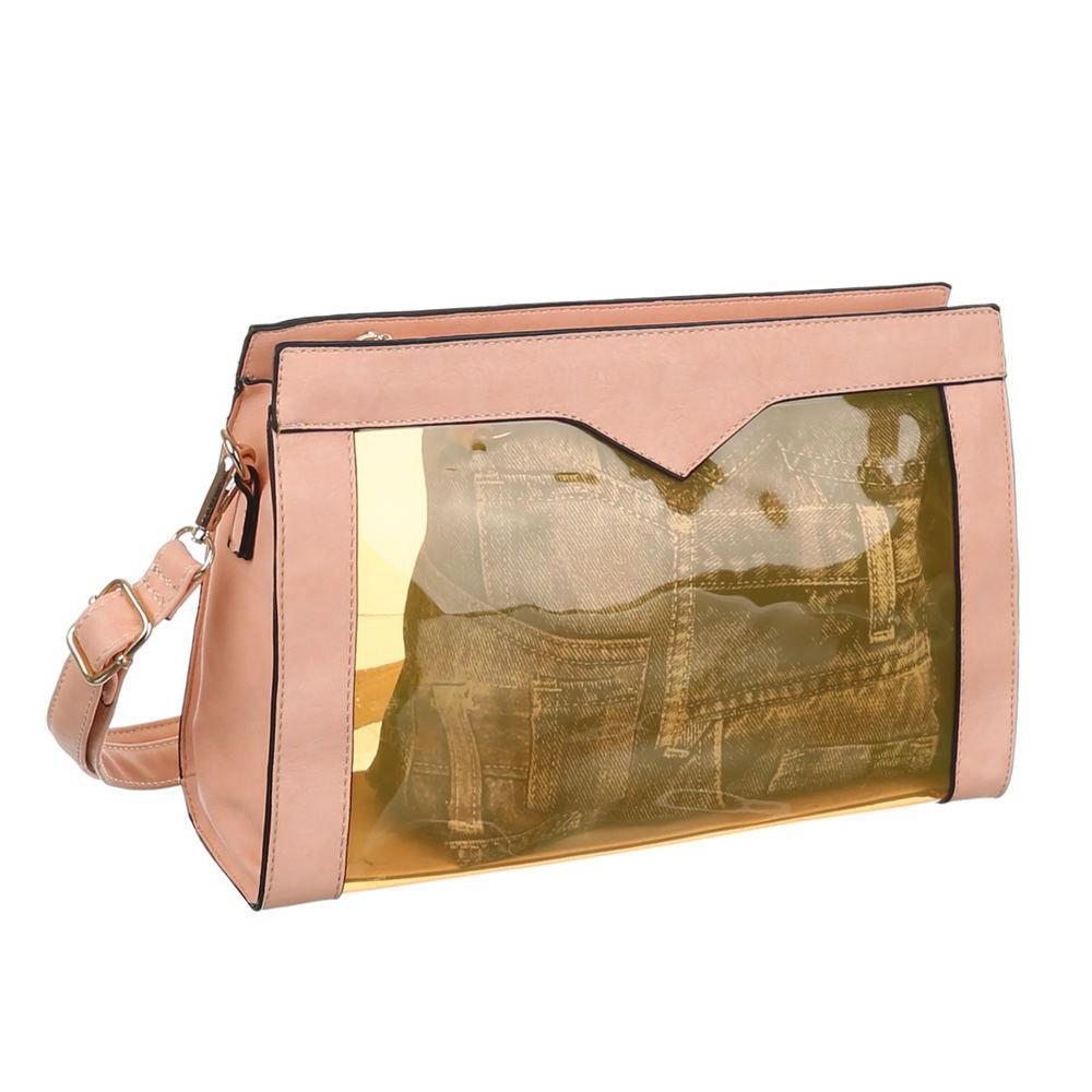 Прозрачная сумка с экокожей (Европа) Пудровый