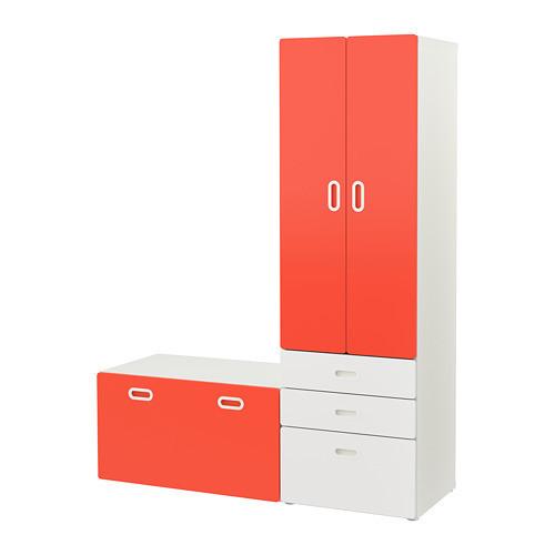 Шкаф со скамейкой IKEA STUVA / FRITIDS 150x50x192 см белый красный 892.530.51
