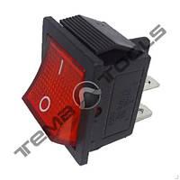 Перемикач 1-клавішний червоний КП-2-І-220В широкий, 4 контакту, ON-OFF з фіксацією