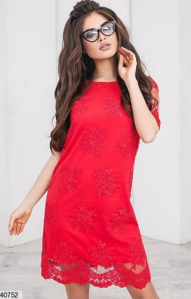 Красивое платье мини прямого кроя вышитое трикотажная подкладка ярко красное, фото 2