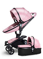 Детская коляска  Aulon 2в1 С поворотом на 360 Розовая эко-кожа Прогулочная и люлька, фото 1
