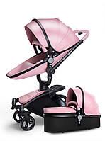 Детская коляска  Aulon 2в1 С поворотом на 360 Розовая эко-кожа Прогулочная и люлька