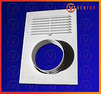 Вентиляционная решетка с жалюзи для естественной и принудительной вентиляции с фланцем, 255х185мм, D = 100мм