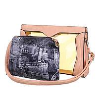 56150969341c Женская прозрачная сумка, комбинированая с экокожей (Европа) Черный  Персиковый