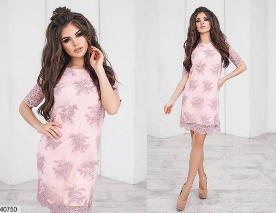 Нарядное платье мини прямого кроя короткий рукав трикотаж сетка с вышивкой розовое, фото 2
