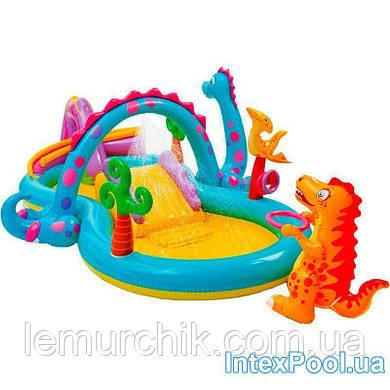 Детский надувной игровой центр-бассейн Intex «Планета динозавров», 333 х 229 х 112 см, с фонтаном