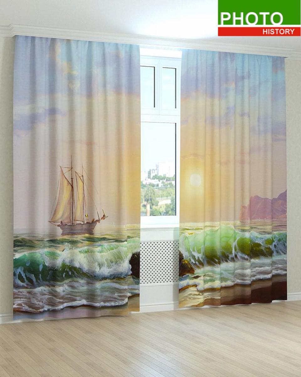 Фотошторы морская волна красками