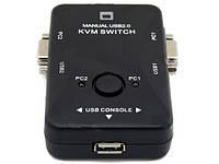 2-портовый KVM свич, переключатель USB, фото 1