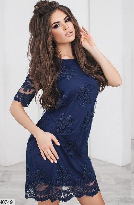Летнее платье короткое вышитое полу приталенное темно синее