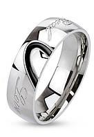 Кольцо из нержавеющей стали c гравировкой настоящая любовь, 316L Spikes (США), фото 1