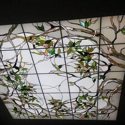 Витражный потолок дерево с листьями