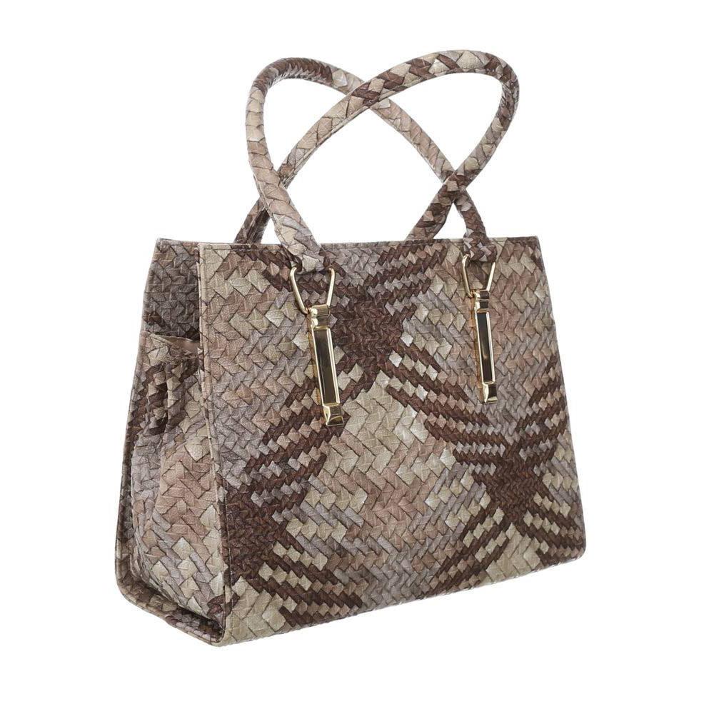 Женская сумка хенхелд из плетеной экокожи (Европа) Коричневый/Бежевый