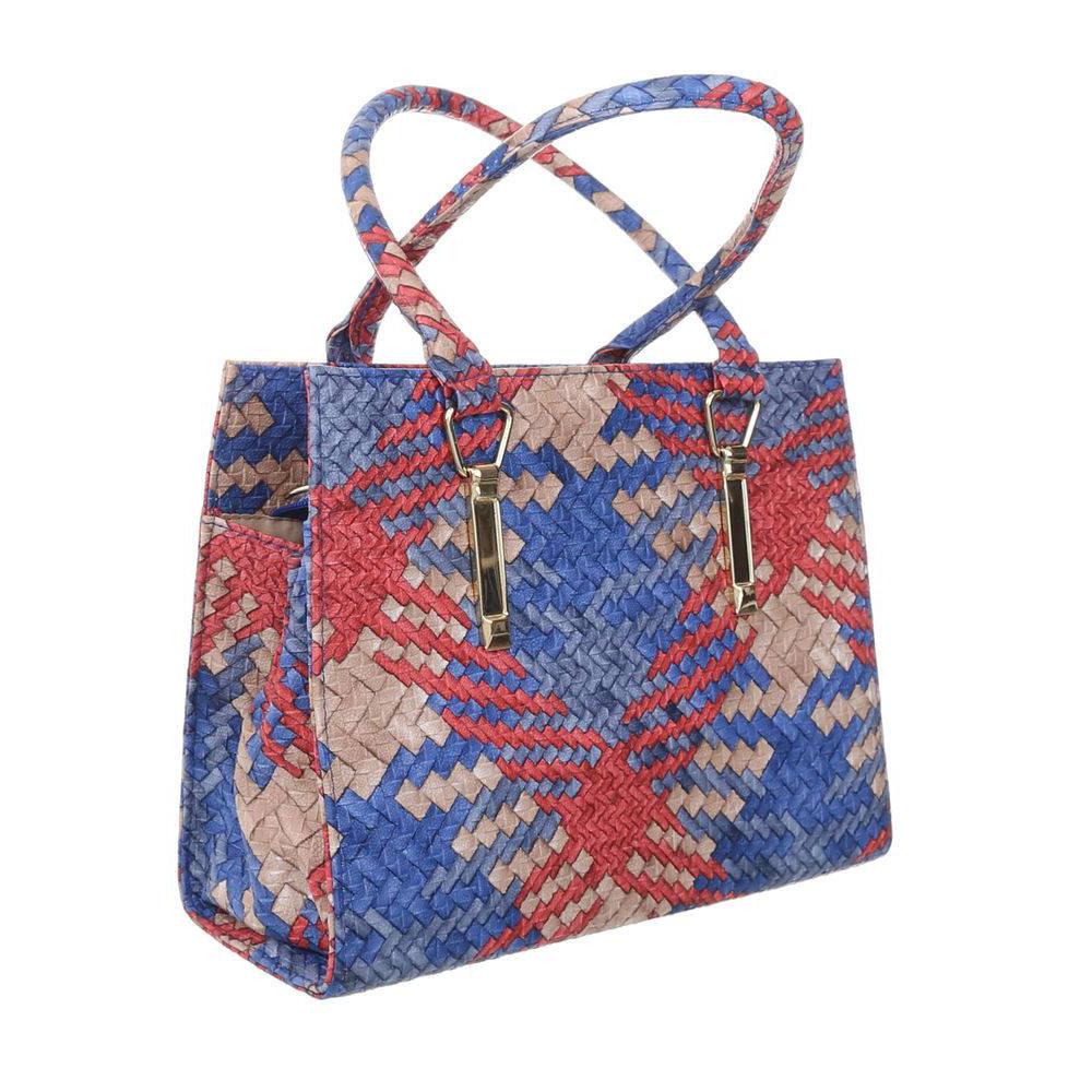 Женская сумка хенхелд из плетеной экокожи (Европа) Красный\Синий