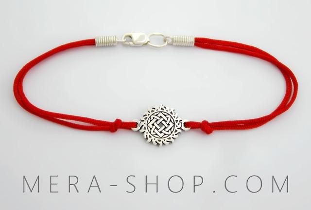 Красный браслет с серебряным оберегом Звезда Руси