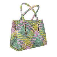 2f8bc9164e09 Женская сумка хенхелд из плетеной экокожи (Европа) Розовый/Желтый/Зеленый