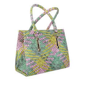 Женская сумка хенхелд из плетеной экокожи (Европа) Розовый/Желтый/Зеленый