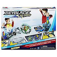 Набор Бейблэйд арена 2 волчка с пусковым механизмом белая  Beyblade Burst Avatar Attack Battle Set C0706