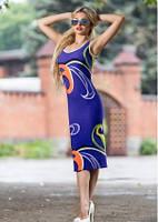 Платье футляр летнее по фигуре цвет электрик, платье майка облегающее