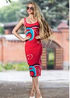 Платье футляр летнее по фигуре красного цвета, платье майка облегающее, фото 1