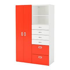 Шкаф / гардероб IKEA STUVA / FRITIDS 120x50x192 см белый красный 292.764.61