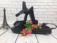 Классические модные босоножки на толстом устойчивом каблуке, цвет черная кожа.
