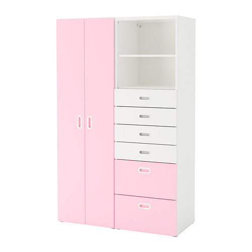 Шкаф / гардероб IKEA STUVA / FRITIDS 120x50x192 см белый розовый 792.764.68