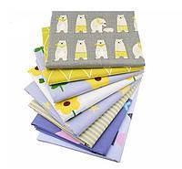 Набор тканей (Ткань) для Пэчворка Желто-сиреневые 50x50 см 8 шт, фото 1