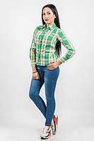 Рубашка женская клетчатая 875K002 (Салатово-желтый)
