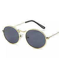 Солнцезащитные очки овальные с цветной линзой Черный в золоте