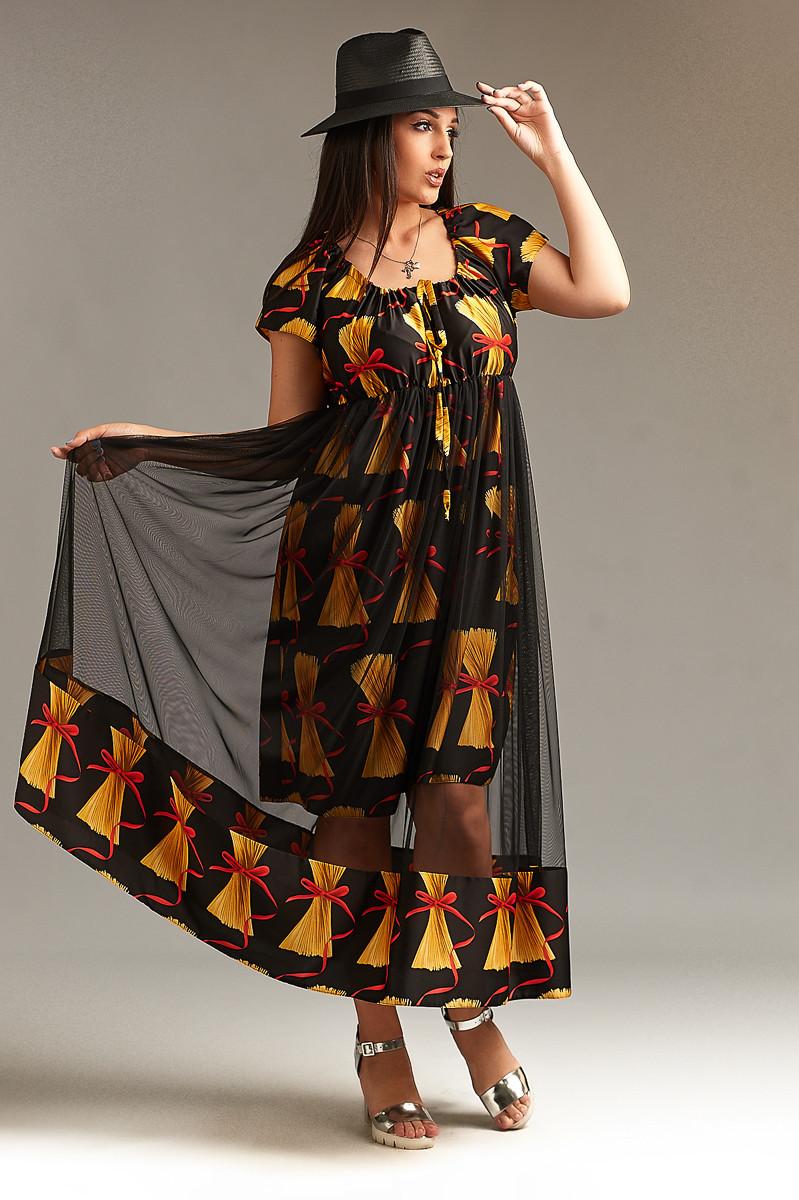 """Летнее комбинированное платье """"DILARA"""" с юбкой из сетки (большие размеры)"""