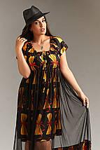 """Летнее комбинированное платье """"DILARA"""" с юбкой из сетки (большие размеры), фото 2"""