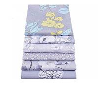 Набор тканей (Ткань) Серо-сиреневые оттенки Цветы для Пэчворка 40x50 см 6 шт